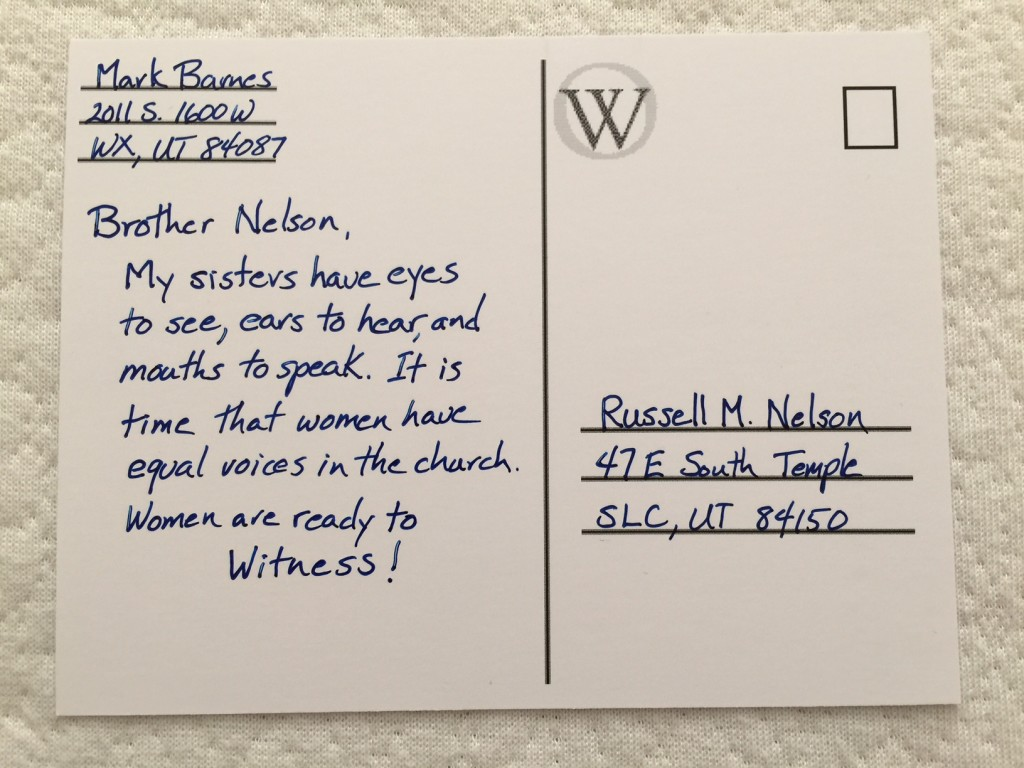 Postcard to Russell M Nelson