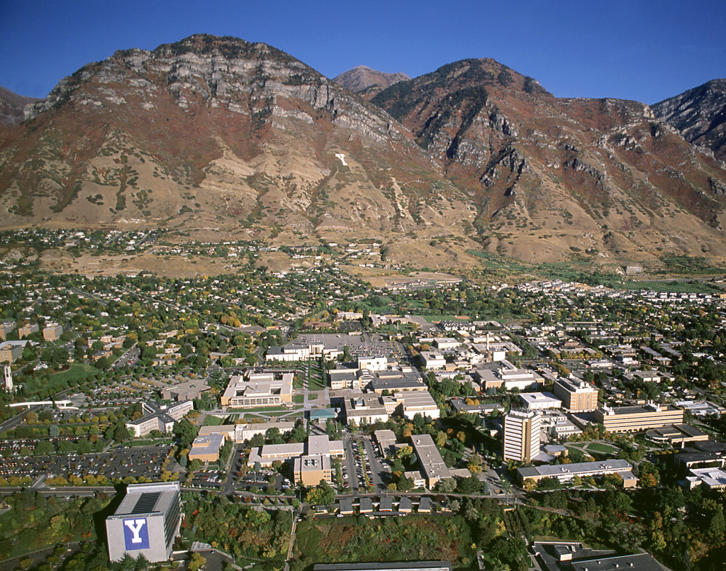 Aerial view of the campus of Brigham Young University in Provo, Utah. Photo by Mark A. Philbrick