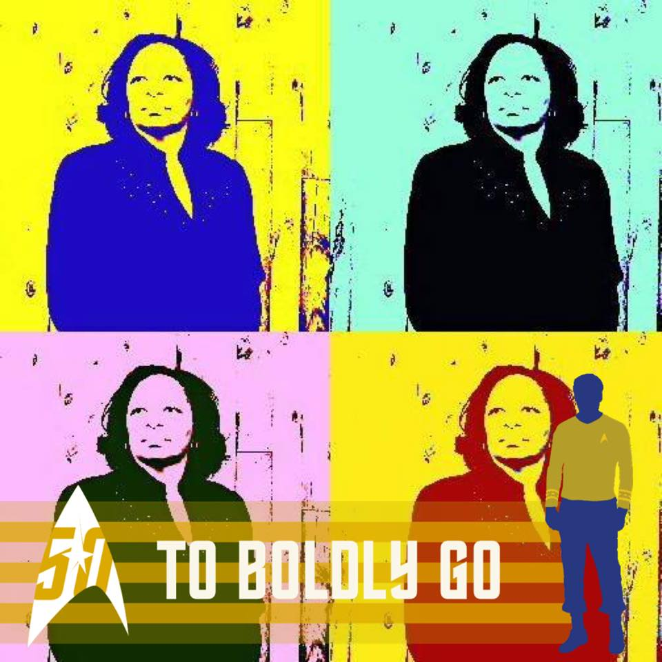 "Four pictures of Bryndis Roberts in silk-screen style colors, with the Star Trek logo and the words ""To Boldly Go"""