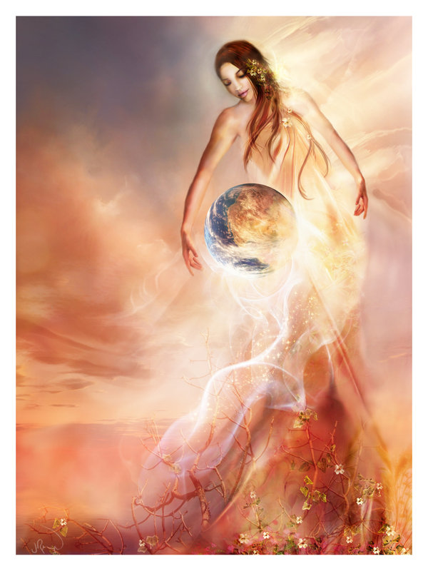 Image of a woman with arms extended around earth, as though in the act of creating it.