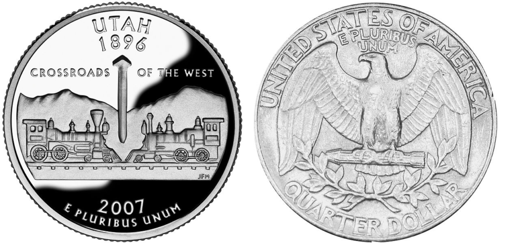 "The image shows both sides of a U.S. coin called a quarter. The front of the coin shows the words ""Utah 1896: Crossroads of the West."" The back of the coin looks like the back of any quarter in the U.S."