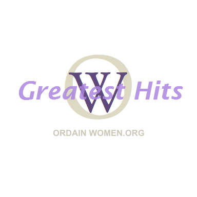 "The OW logo with the words ""greatest hits"" written across it. Below the logo it says ordainwomen.org."