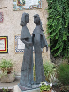 Statue of the Visit at the Church of the Visitation in Ein Karem, Israel
