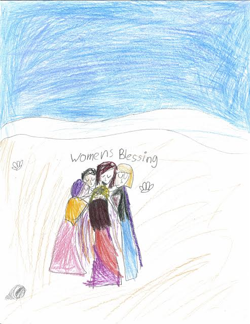 Child's drawing of women standing in a circle, text reads women's blessing.