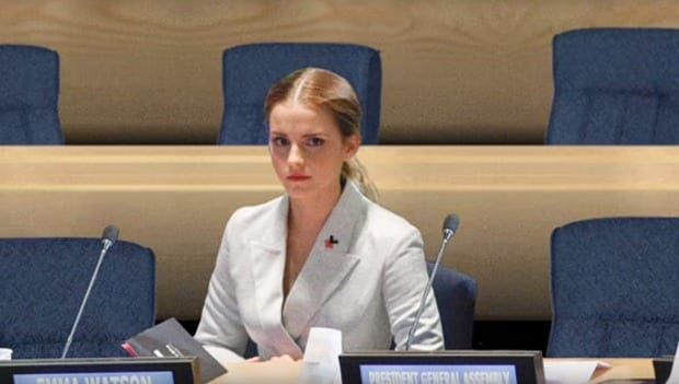 Emma Watson, apparently sitting alone in the UN Chamber. (Men have been photo-shopped out of the picture.)