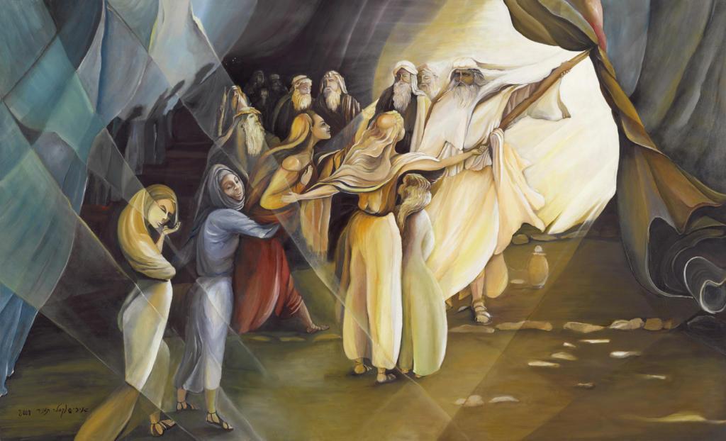 "Painting by  Iris Vexler Tamir titled ""Class Daughters of Zelophehad."""