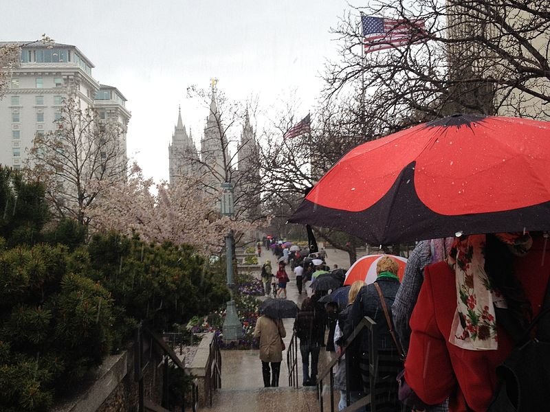 A line of people, many carrying umbrellas, walking toward the Salt Lake City, UT Temple, taken during OW's April 2014 Priesthood Action