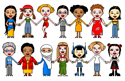 Image is a drawing of 14 women, standing in two lines. There is a variety of representation in race and culture.
