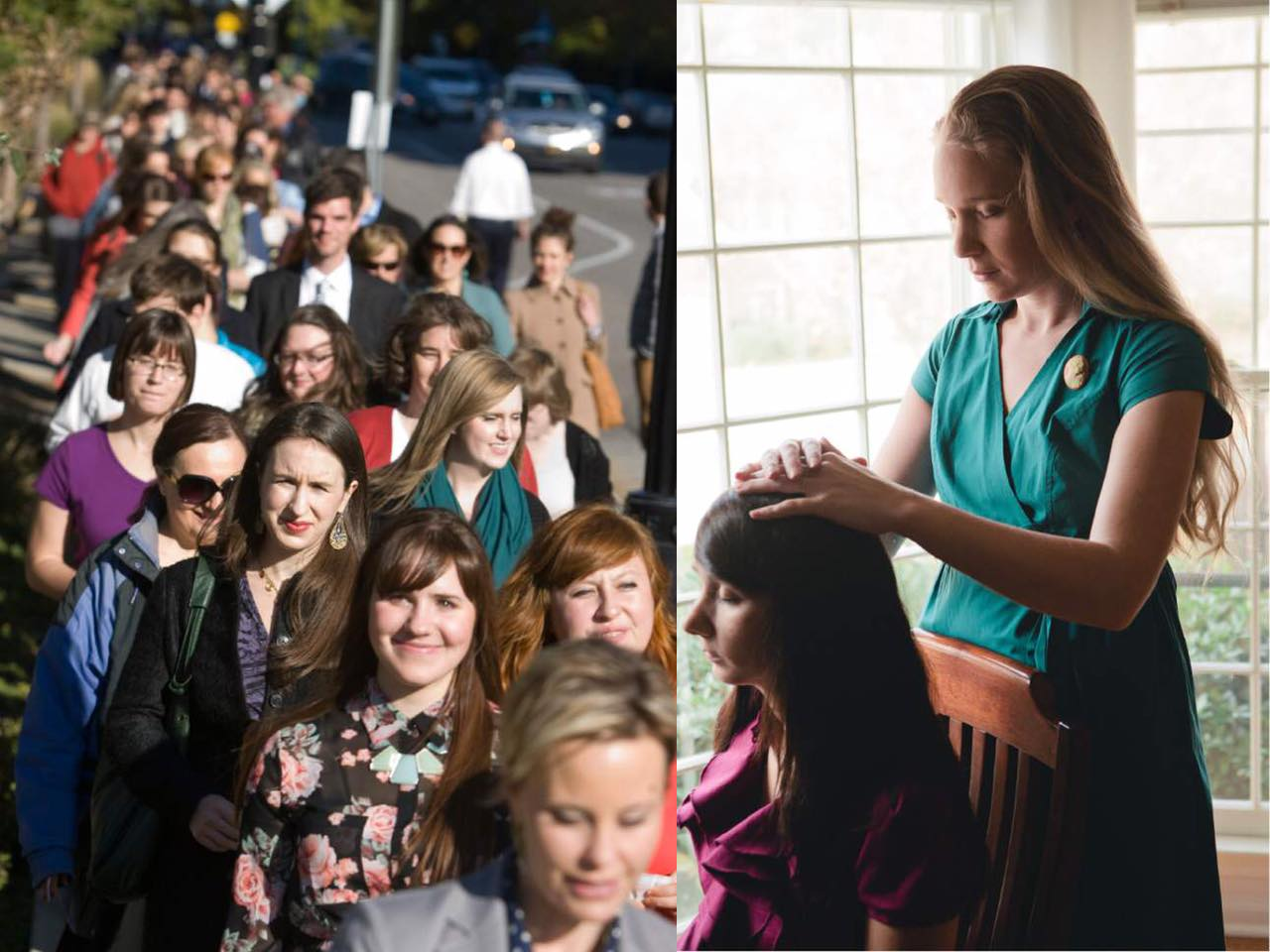 Two pictures side by side. On the left, a crowd of people are marching down the street together. On the right, a woman is giving another woman a priesthood blessing.